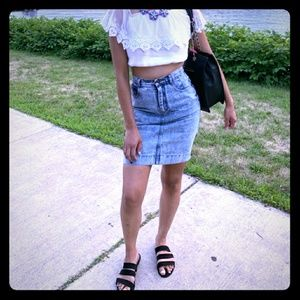 VINTAGE 90's Stoned Washed Denimn High Waist Skirt